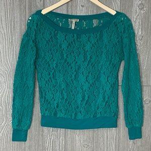 Kirra XS green floral crochet and open mesh top